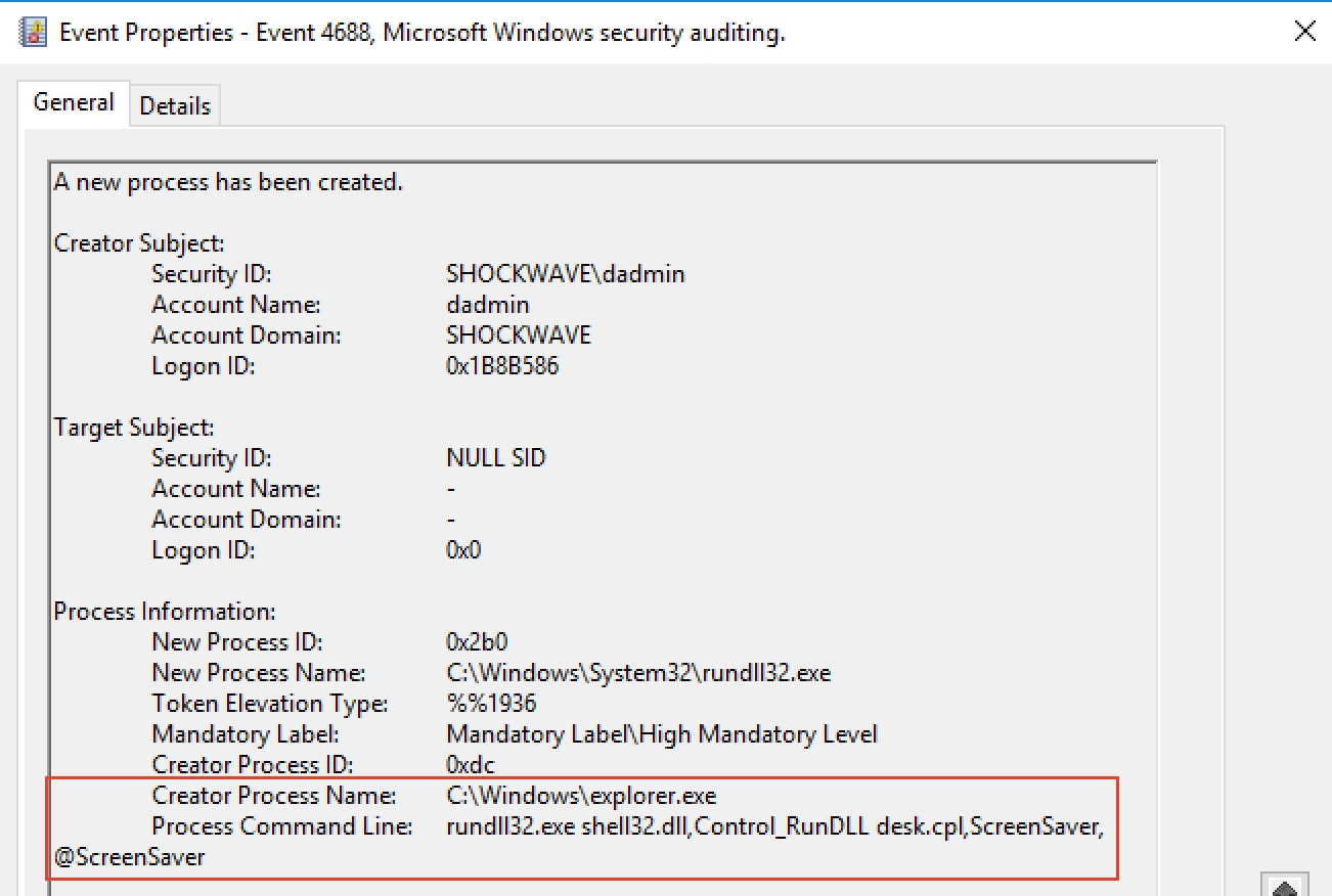 Fig.10. Example of Windows and Sysmon events in case of process start withspoofing thecommand line and theparent process