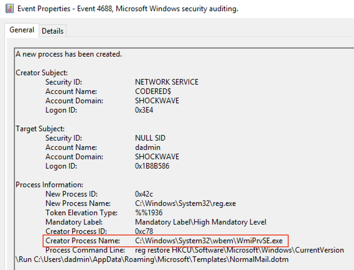 Figure 14. Example of Windows andSysmon events in case of process execution via WMI