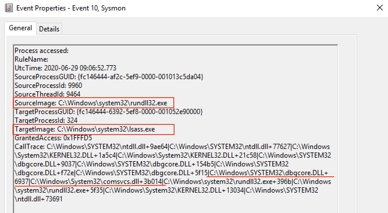 Figure 23: Example of Sysmon and EDR events in case of LSASS process memory access