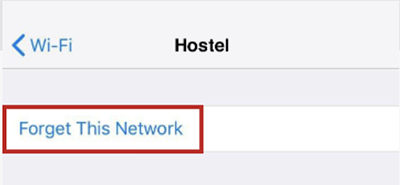 Deleting a Wi-Fi network on iPhone